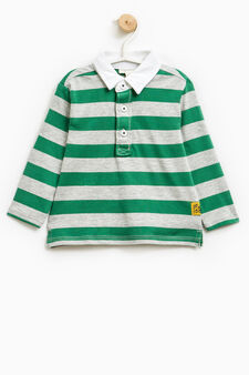 Striped pattern polo shirt in 100% cotton, Grey/Green, hi-res