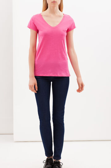 T-shirt con taschino, Rosa fuxia, hi-res