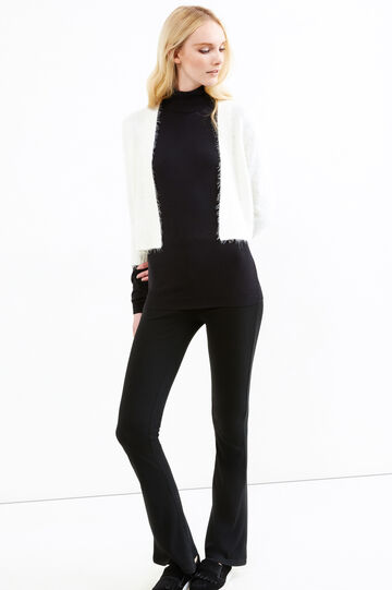 Knitted cardigan with ribbing, Natural, hi-res