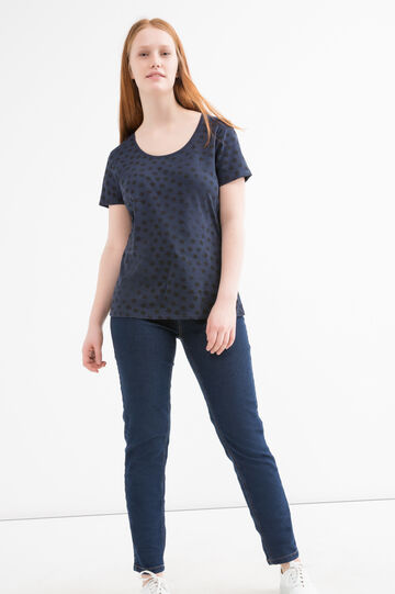 Curvy 100% cotton patterned T-shirt, Navy Blue, hi-res
