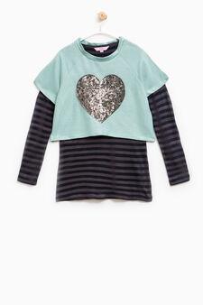 100% cotton sweatshirt with stripes and sequins, Aqua Blue, hi-res