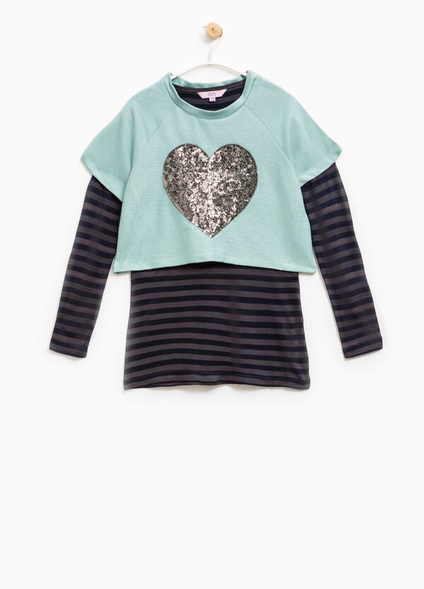100% cotton sweatshirt with stripes and sequins | OVS