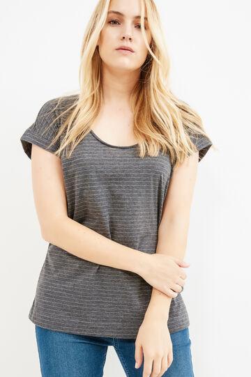 Curvy striped T-shirt in 100% cotton, Grey Marl, hi-res