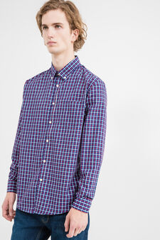 Check cotton casual shirt, Blue/Red, hi-res