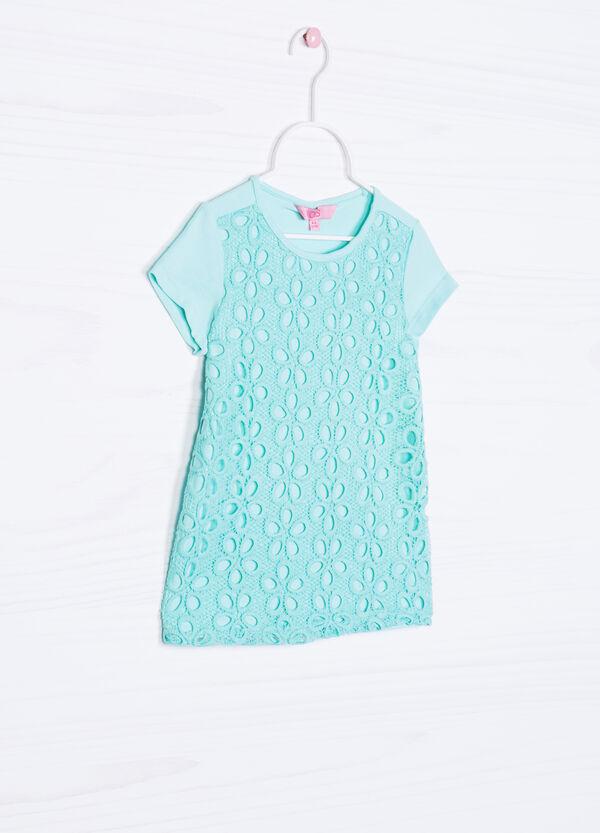 Solid colour openwork cotton T-shirt | OVS