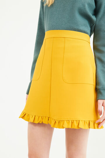 High-waisted skirt with frills, Yellow, hi-res