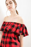 Short dress with check pattern, Black/Red, hi-res