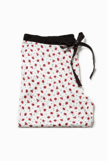 Pyjama trousers with all-over print, White/Red, hi-res