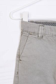 Solid colour cotton Bermuda chinos, Grey, hi-res