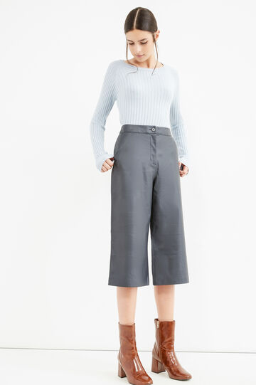 Solid colour high-waisted Gaucho trousers., Blue, hi-res