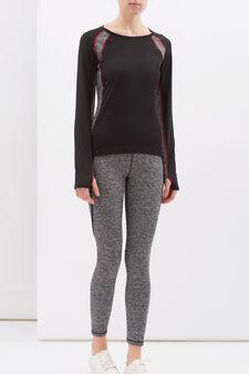 T-shirt sportiva stretch, Nero/Grigio, hi-res