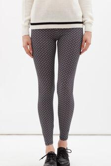 Leggings stretch stampati , Bianco/Nero, hi-res