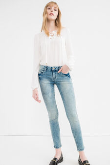 Jeans skinny fit stretch cuciture a tono, Lavaggio medio, hi-res