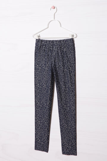 Patterned stretch jeggings, Blue, hi-res