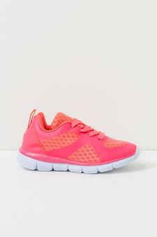 Sneakers traforate con lacci, Rosa fuxia, hi-res