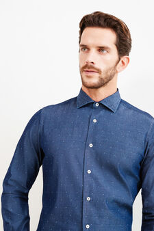 Slim-fit Rumford shirt with pattern, Denim Blue, hi-res