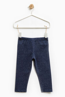 Stretch cotton lurex leggings, Navy Blue, hi-res
