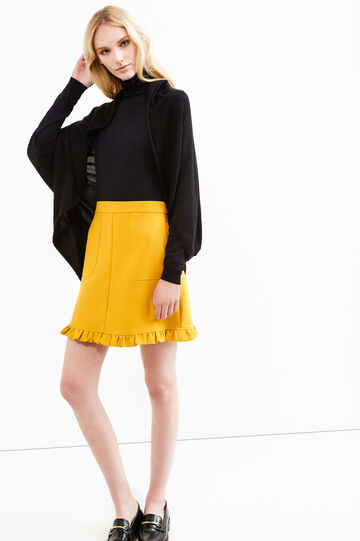 Long wrap with rounded hem, Black, hi-res