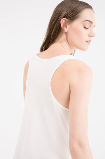 Solid colour top with sequins, White, hi-res
