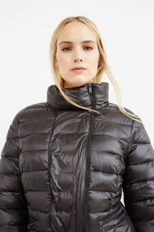 Curvy plain down jacket with high neck, Black, hi-res