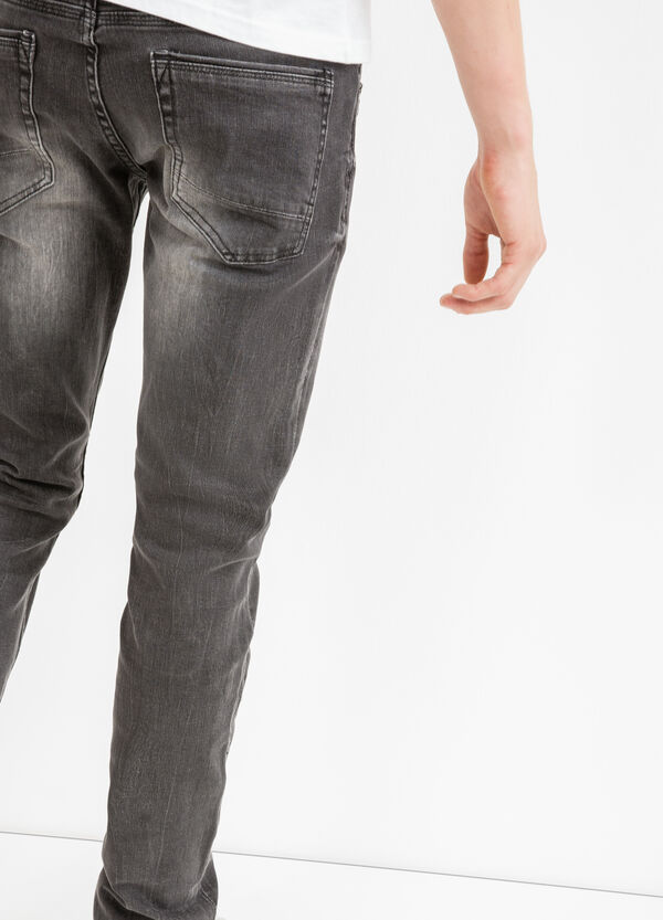 Skinny-fit, worn-effect, stretch jeans | OVS