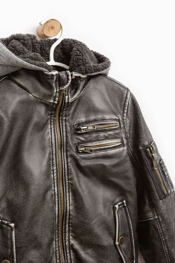 Leather look jacket with removable hood, Dark Grey, hi-res