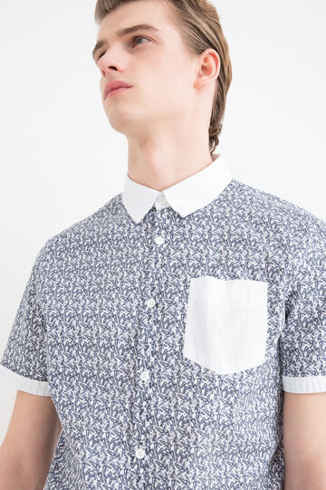 Slim fit patterned cotton shirt, White, hi-res
