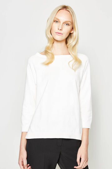Cotton blend pullover with slits
