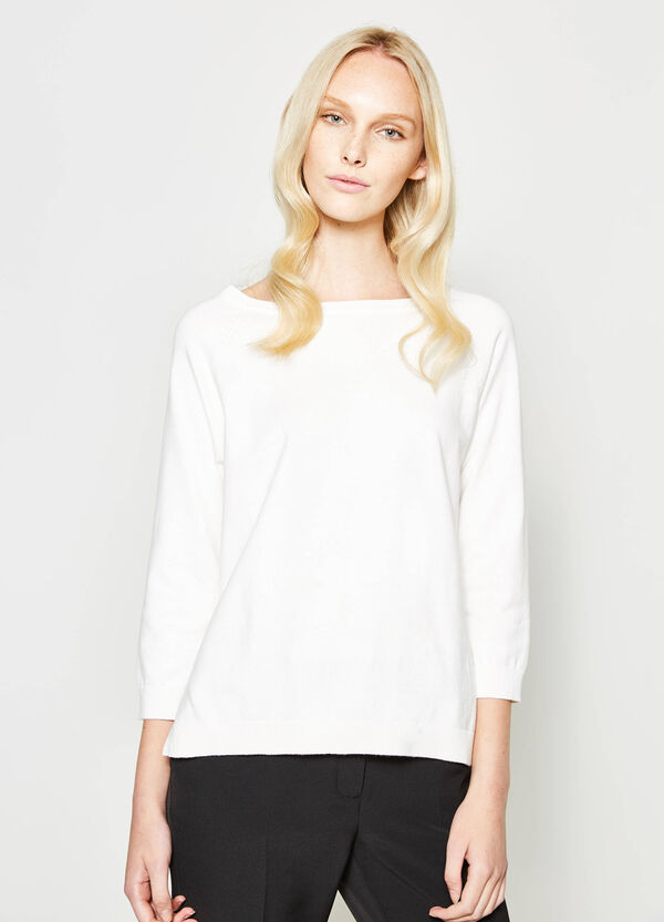 Cotton blend pullover with slits | OVS