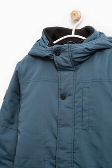 Solid colour jacket with hood, Teal Green, hi-res