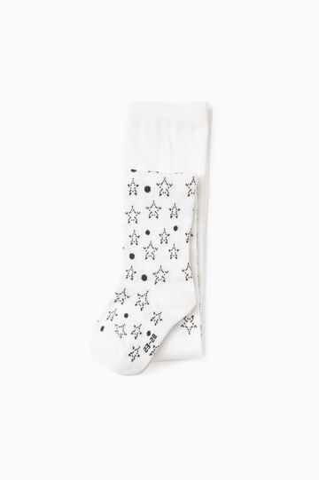 Star and polka dot patterned tights, Cream White, hi-res