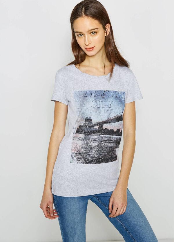 Camiseta en algodón elástico con estampado grande | OVS
