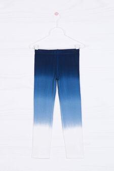 Faded stretch viscose leggings, Blue, hi-res