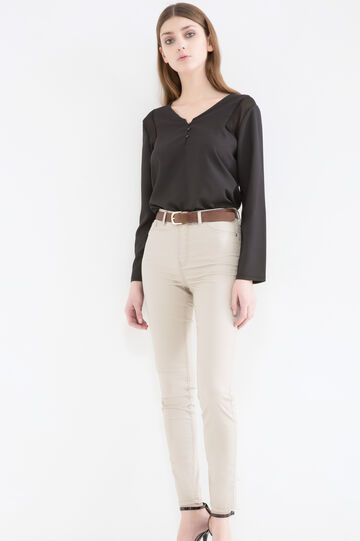 Stretch trousers with high waist, Light Beige, hi-res