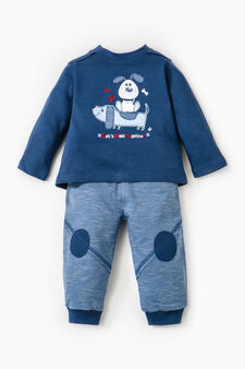 Cotton sweatshirt and trousers set, Navy Blue, hi-res