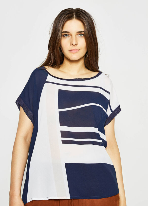 Curvy blouse with knitted inserts and print | OVS