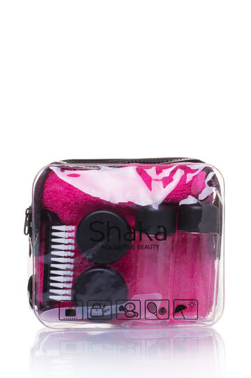 Travel kit with bag, Black/Pink, hi-res
