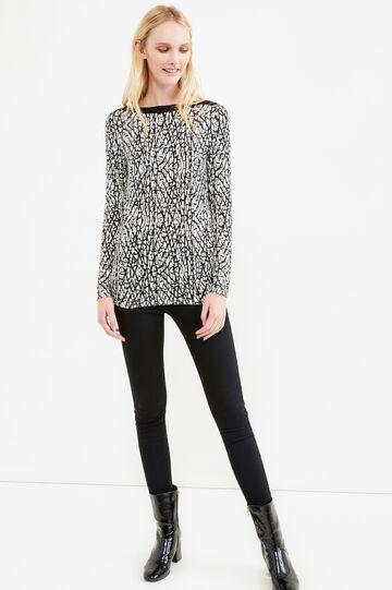 Patterned T-shirt in stretch viscose, White/Black, hi-res