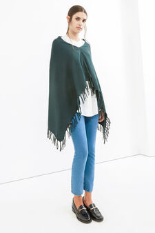 Solid colour poncho with fringe, Green, hi-res
