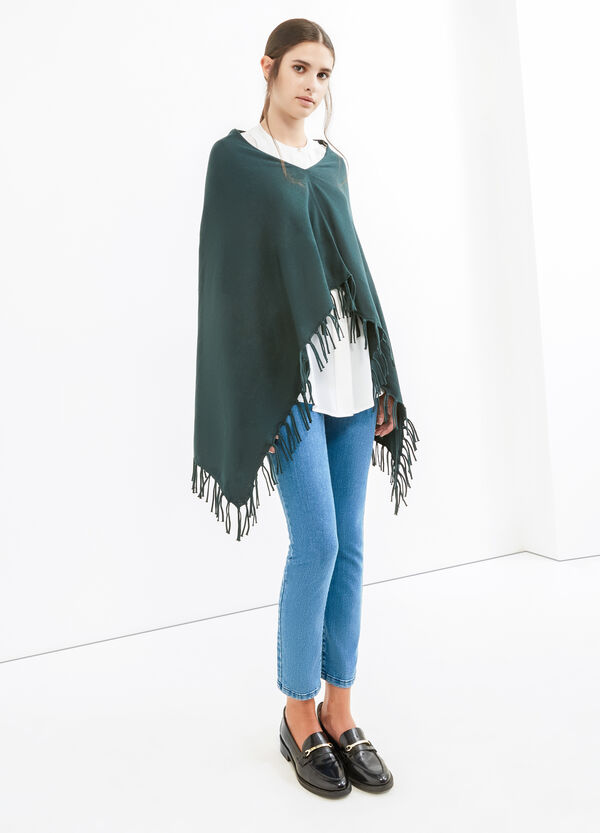 Solid colour poncho with fringe | OVS