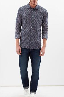 Slim fit 100% cotton shirt, Blue/Red, hi-res