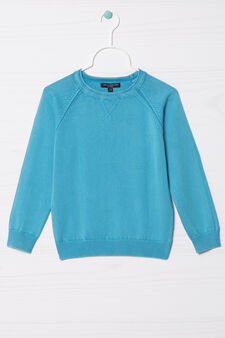 100% cotton knitted pullover, Turquoise Blue, hi-res