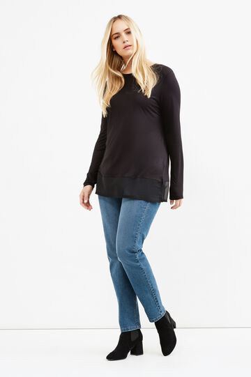 Curvy faux layered effect viscose blend T-shirt, Black, hi-res