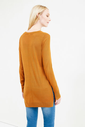 Long pullover with slits, Brown, hi-res