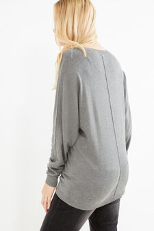 Curvy cotton viscose pullover, Grey, hi-res