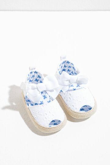 Sandali ricamati con suola intrecciata, Bianco/Azzurro, hi-res