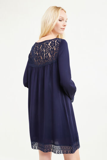 100% viscose dress with lace, Navy Blue, hi-res