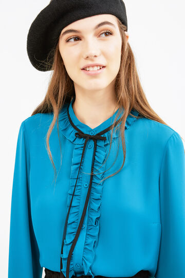 Blouse with flounces and laces at the collar, Light Blue, hi-res