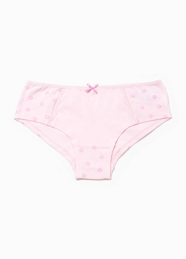 Floral patterned French knickers in stretch cotton | OVS