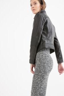 Leather look, stitched jacket, Black, hi-res